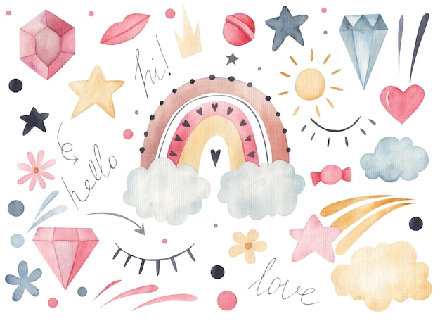 Set of stickers rainbow, diamond, clouds watercolor