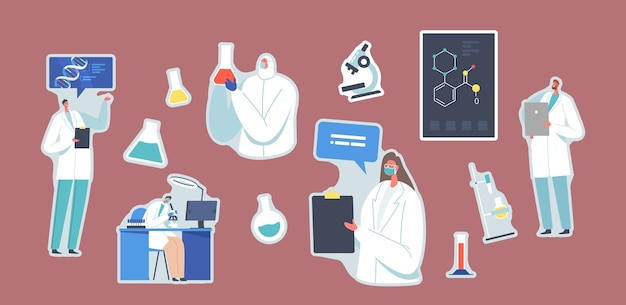 Set of stickers scientific laboratory research. scientists characters working with dna, looking through microscope, making notes. medicine genetic technology. cartoon patches, vector illustration
