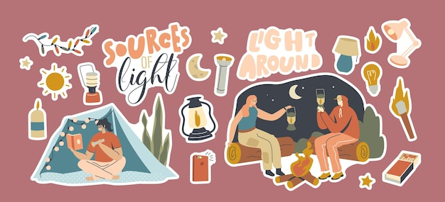 Set of stickers sources of light. men and women with flashlight, lantern and matches or candles at night camp. characters use different supplies for illumination. cartoon people vector illustration