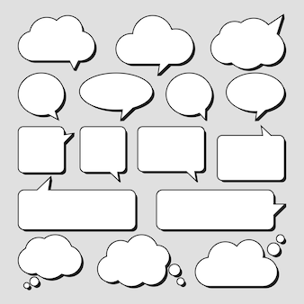 Set of stickers of speech bubbles.