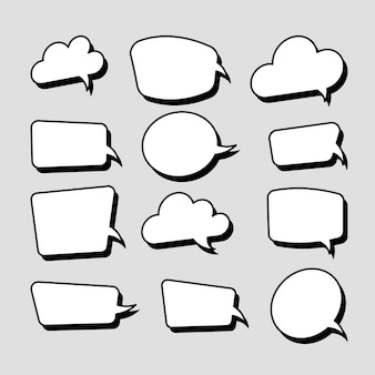 Set of stickers of speech bubbles