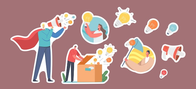 Set stickers spread knowledge ideas. male character wear red superhero cloak with loudspeaker, woman with light bulb, open box with lamps flying out, catch with net. cartoon people vector illustration