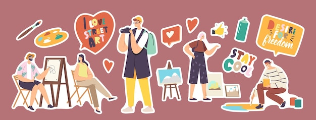 Set of stickers street artist theme. man painting portrait of girl sitting in front of easel. painter holding brush, drawing on asphalt. outdoor creative hobby, art. cartoon people vector illustration