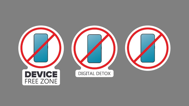 Set of stickers. strikethrough phone icon. the concept of ban devices, free zone devices, digital detox. blank for sticker. isolated. vector.