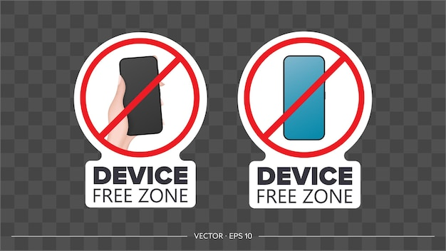 Set of stickers. strikethrough phone icon. the concept of ban devices