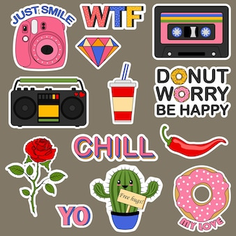 Set of stickers for a teenager