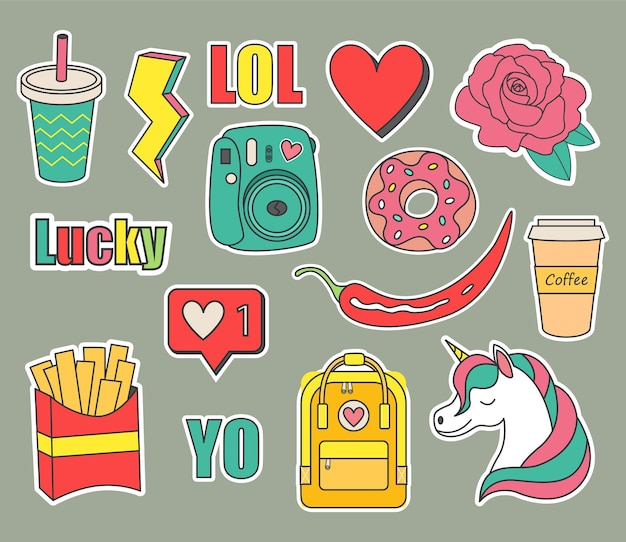 Set of stickers for a teenager.