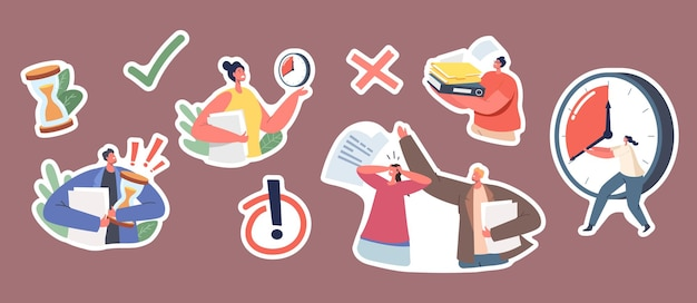 Set of stickers urgent work. stressed business characters with much paperwork, woman with huge alarm clock, man with pile of documents, hourglass, exclamation sign. cartoon people vector illustration
