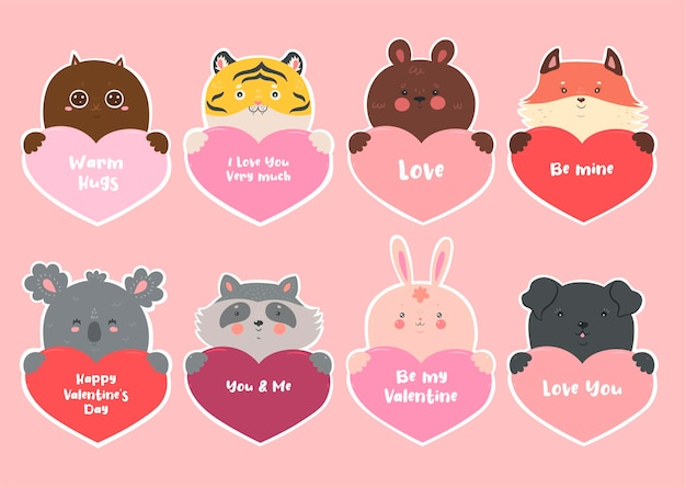 Set of stickers for valentine s day with animals and hearts