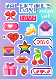 Set of stickers for valentine's day