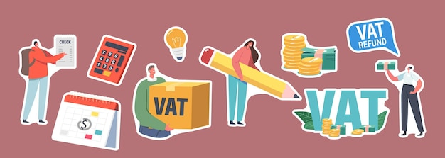 Set of stickers vat, value added tax return. male or female characters getting refund for foreign shopping. people save budget, get money, tax free airport service. cartoon vector people illustration