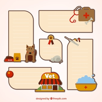 Set of stickers with animals and accessories