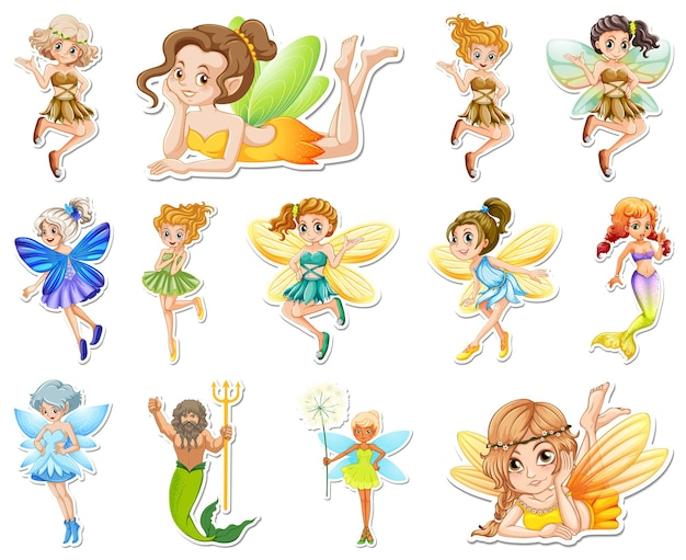 Set of stickers with beautiful fairies and mermaid cartoon character
