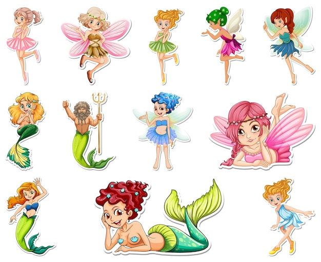 Set di adesivi con bellissime fate e personaggio dei cartoni animati sirena