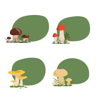 Set of stickers with cartoon mushrooms
