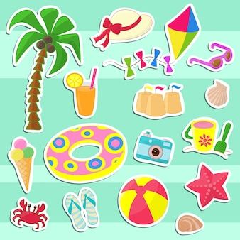 Set of stickers with children's vacation items