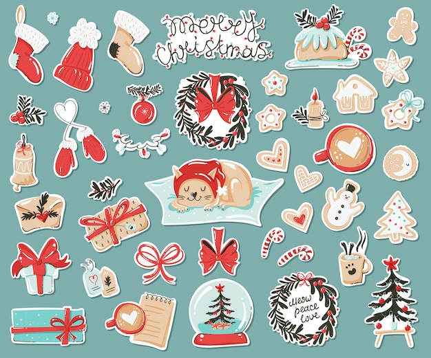 Set of stickers with christmas items.