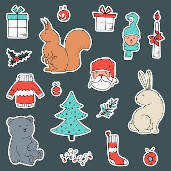 Set of stickers with christmas and new year elements.