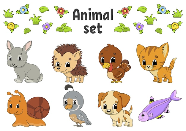 Set of stickers with cute cartoon characters animal clipart