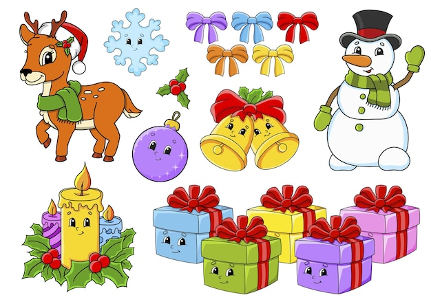 Set of stickers with cute cartoon characters christmas theme Premium Vector