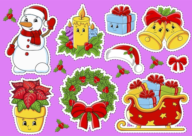 Set of stickers with cute cartoon characters christmas theme