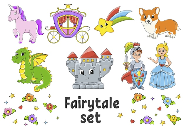 Set of stickers with cute cartoon characters. fairytale theme. hand drawn.