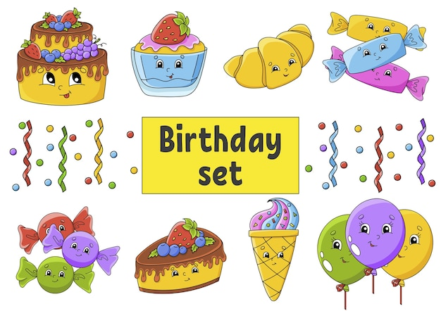 Set of stickers with cute cartoon characters. happy birthday theme. hand drawn. colorful pack.