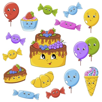 Set of stickers with cute cartoon characters. happy birthday theme. hand drawn.