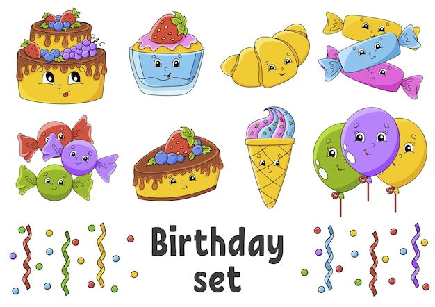 Set of stickers with cute cartoon characters. happy birthday theme.