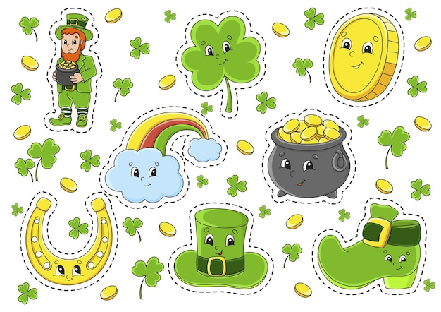 Set of stickers with cute cartoon characters st patricks day