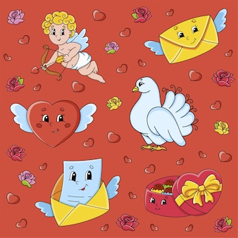 Set of stickers with cute cartoon characters valentine's day clipart