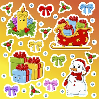 Set of stickers with cute cartoon characters