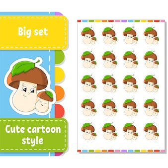 Set of stickers with cute cartoon characters.