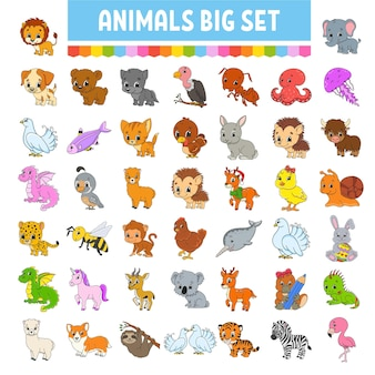 Set of stickers with cute cartoon