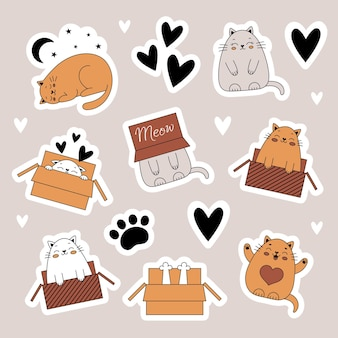 A set of stickers with cute cats pets animals cat in a box doodle style illustration