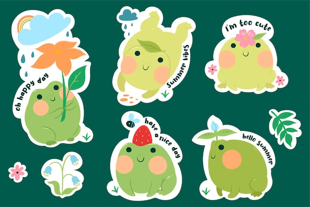 Set of stickers with cute frogs