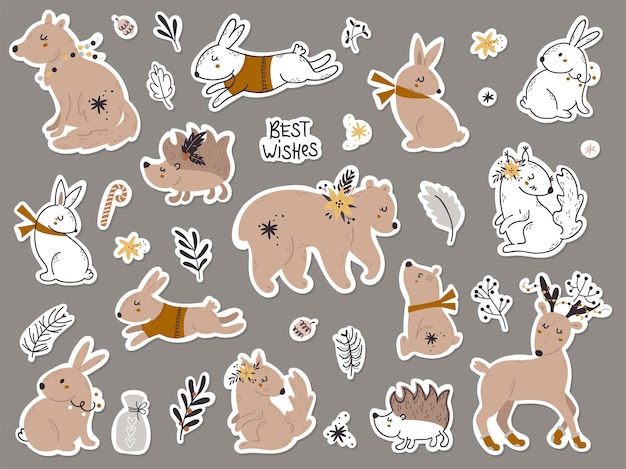 Set of stickers with forest animals. vector illustration for greeting cards, christmas invitations and scrapbooking
