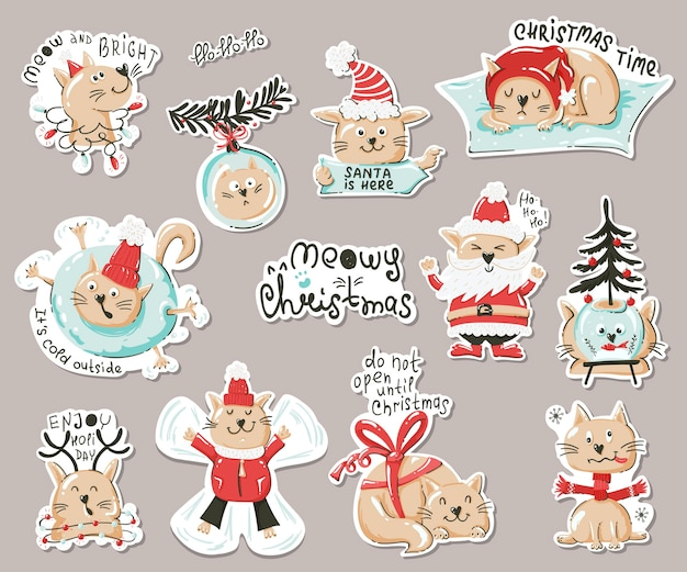 Set of stickers with funny cats.