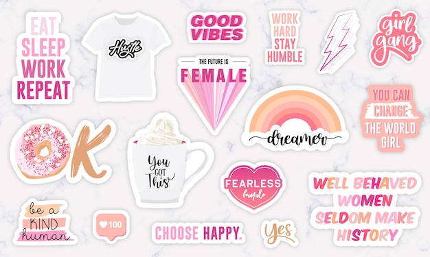 Set of stickers with girl power motivation phrases