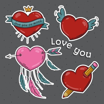 Set of stickers with hearts in doodle style