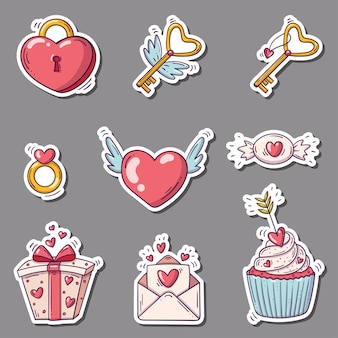 Set of stickers with hearts and others in doodle style