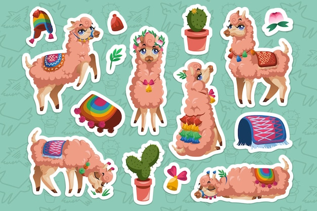 Set of stickers with llamas and alpacas
