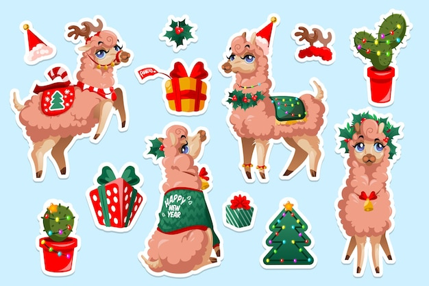 Set of stickers with new year llama vicuna