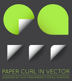 Set of   stickers with paper curl