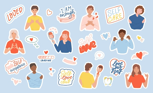 Set of stickers with people, motivational phrases and hearts. concept of body positive, self-love and self-acceptance. flat cartoon illustration