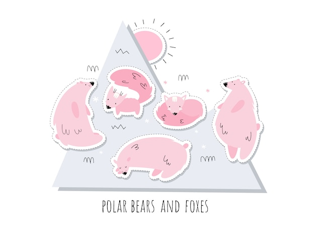 Set of stickers with pink polar bears and foxes. alaska. set of isolates. scandi style