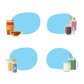 Set of stickers with place for text with alcoholic drinks in glasses and bottles