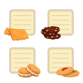 Set of stickers with place for text with cartoon cookies