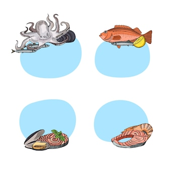 Set of stickers with place for text with hand drawn seafood elements