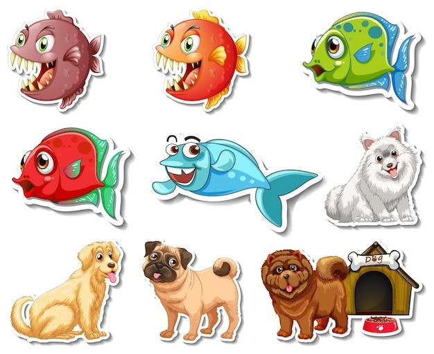 Set di adesivi con personaggi dei cartoni animati di animali marini e cani